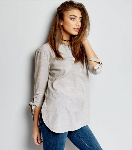 Khaki Tie Sleeve Overhead Shirt  | New Look