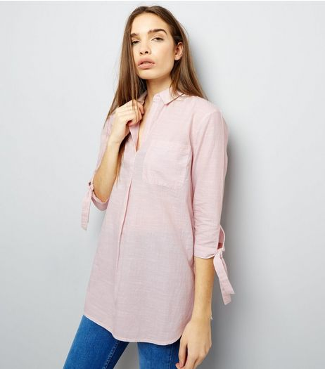 Shell Pink Tie Sleeve Over Head Shirt  | New Look