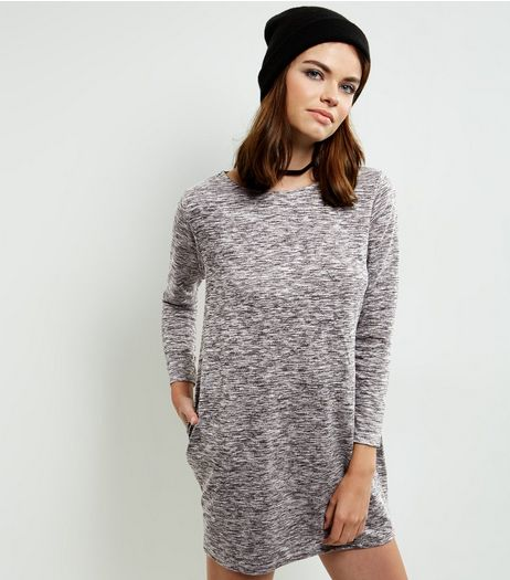 Loving This Pale Grey Space Dye Jumper Dress | New Look