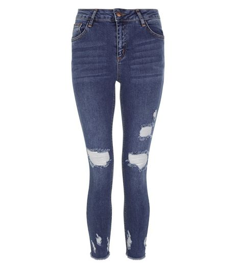 Blue Ripped Skinny Ankle Grazer Jeans | New Look