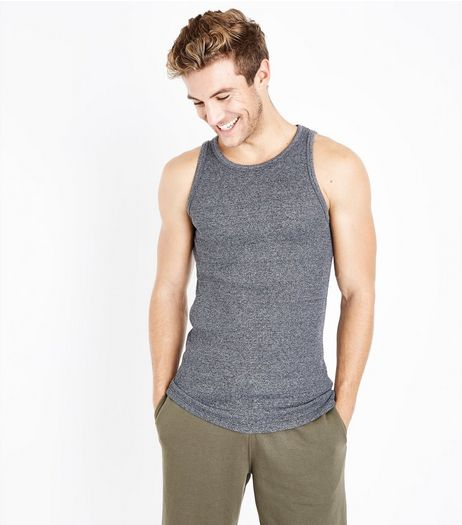 Grey Marl Ribbed Vest | New Look
