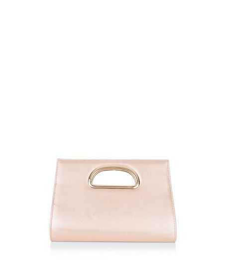 Pink Metallic Metal Handle Clutch | New Look
