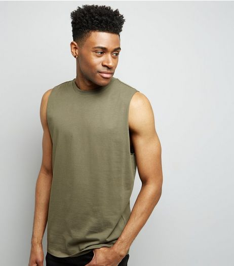 Khaki Dropped Armhole Vest | New Look