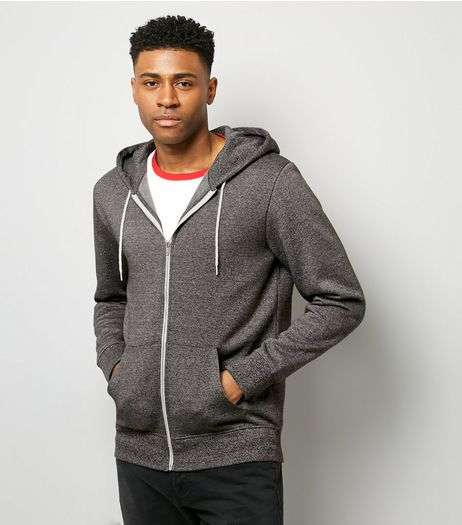 Grey Marl Zip Front Hoodie | New Look