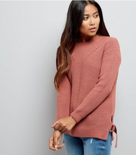 Petite Pink Knitted D Ring Jumper | New Look
