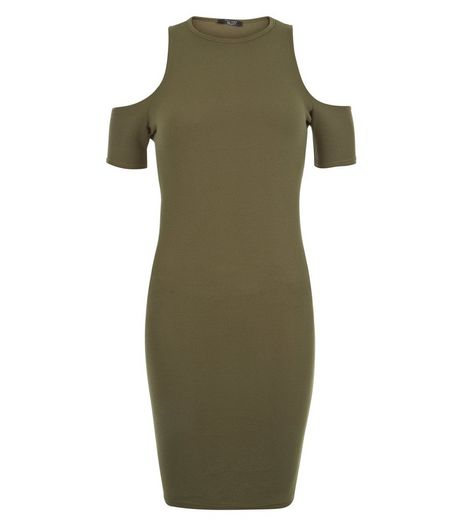 Teens Khaki Ribbed Cold Shoulder Bodycon Dress | New Look