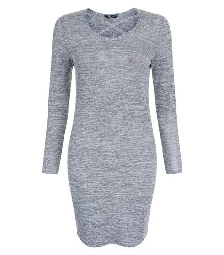 Teens Grey Cross Strap Front Long Sleeve Bodycon Dress | New Look
