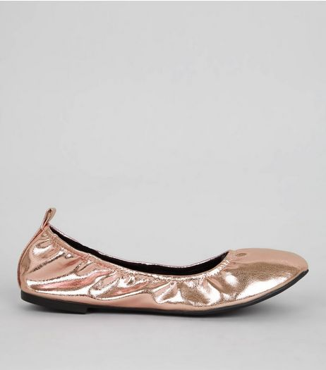 Rose Gold Ballet Pumps | New Look