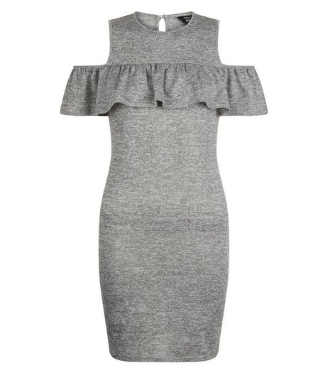 Teens Grey Frill Trim Cold Shoulder Bodycon Dress | New Look