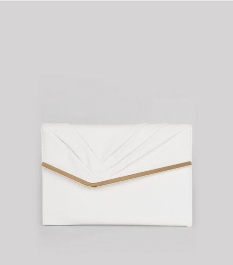 White Snakeskin Texture Metal Trim Clutch | New Look