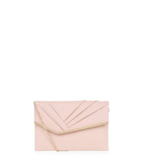 Nude Pleated Front Clutch | New Look