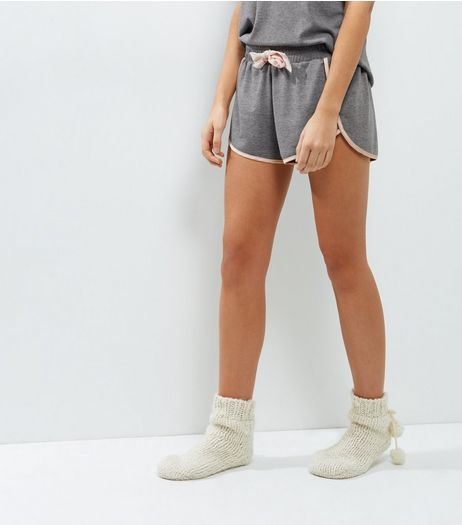 Pale Grey Brushed Sateen Trim Lounge Shorts | New Look