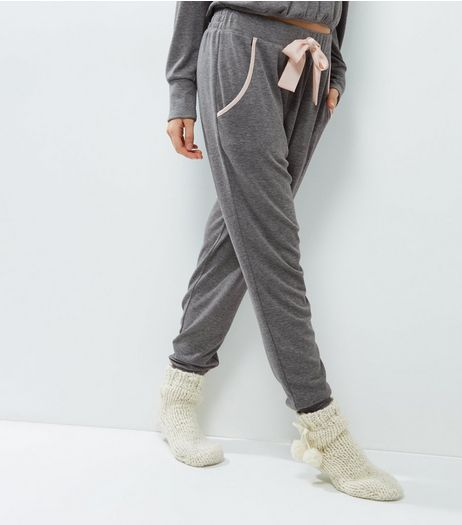 Pale Grey Brushed Contrast Sateen Trim Lounge Joggers | New Look