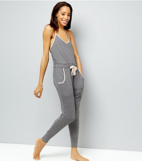 Pale Grey Brushed Sateen Trim Lounge Jumpsuit | New Look