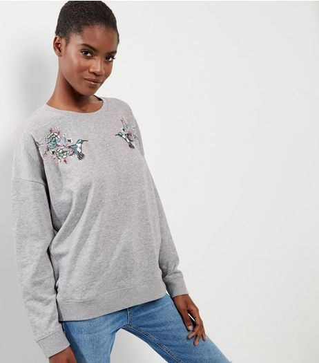 Grey Bird Print Long Sleeve Sweater  | New Look
