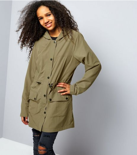 Teens Khaki Drawstring Waist Longline Bomber Mac  | New Look