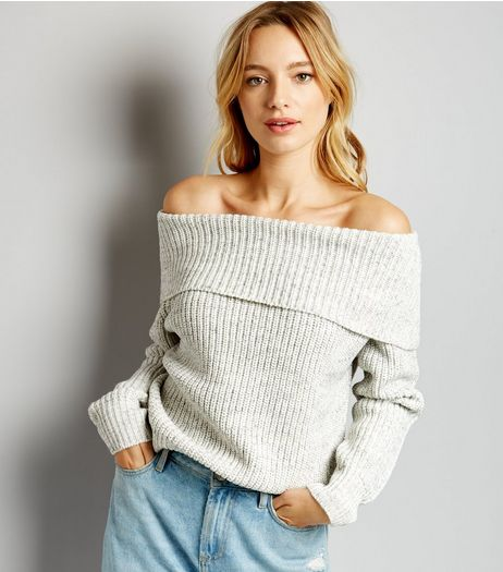 Grey Ribbed Bardot Neck Jumper | New Look
