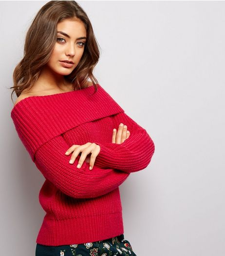 Red Ribbed Bardot Neck Jumper | New Look