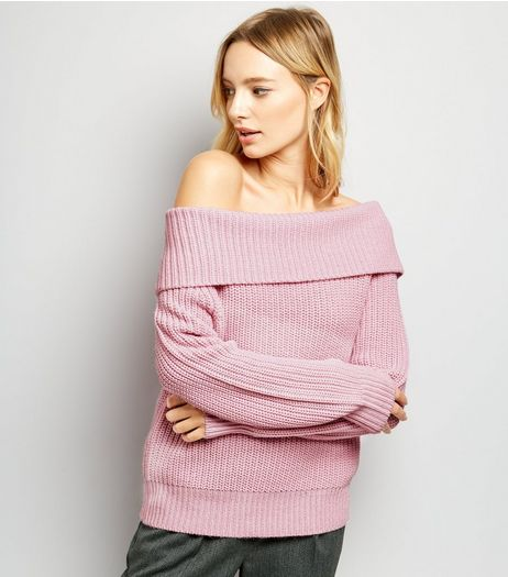 Pink Ribbed Bardot Neck Jumper | New Look