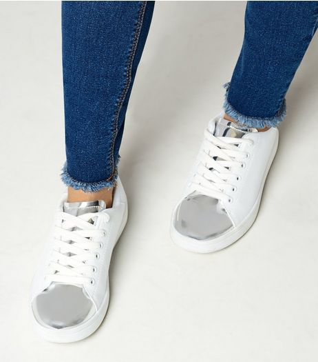 Teens Silver Metallic Panel Trainers | New Look