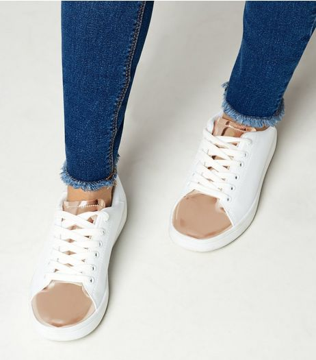 Teens Rose Gold Metallic Panel Trainers | New Look