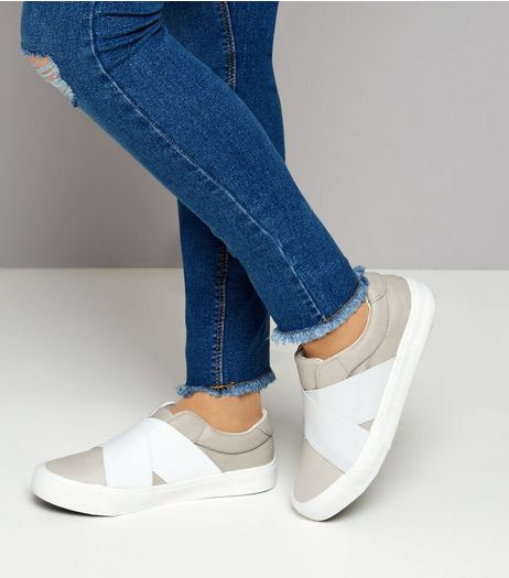 Teens Grey Elastic Strap Front Slip On Trainers | New Look