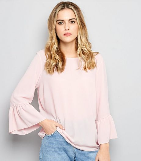 Shell Pink Bell Sleeve Top  | New Look