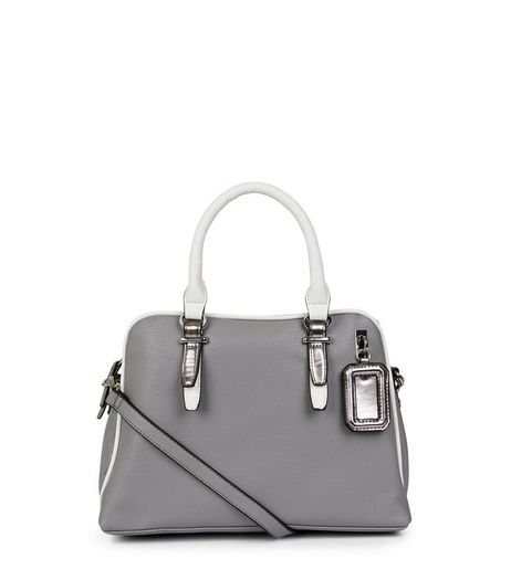 Grey Contrast Trim Bowler Bag | New Look