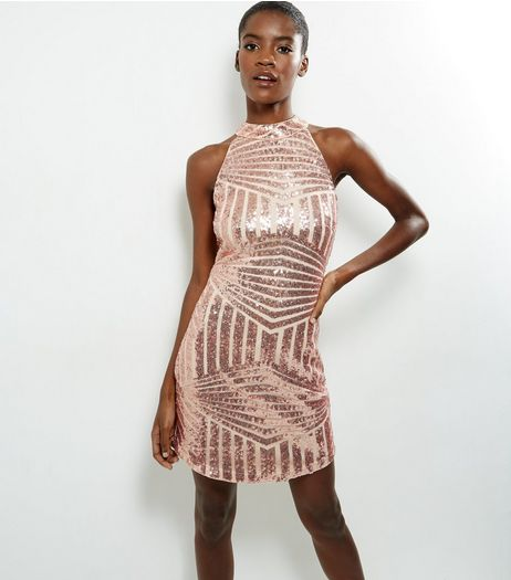 Parisian Shell Pink Sequin High Neck Bodycon Dress | New Look
