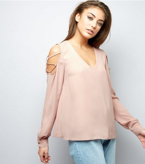 Shell Pink V Neck Lattice Trim Cold Shoulder Top  | New Look