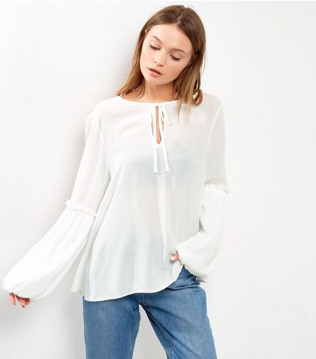 White Frill Trim Tie Neck Long Sleeve Top  | New Look
