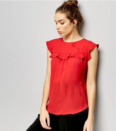 Red Frill Trim Cap Sleeve Top  | New Look