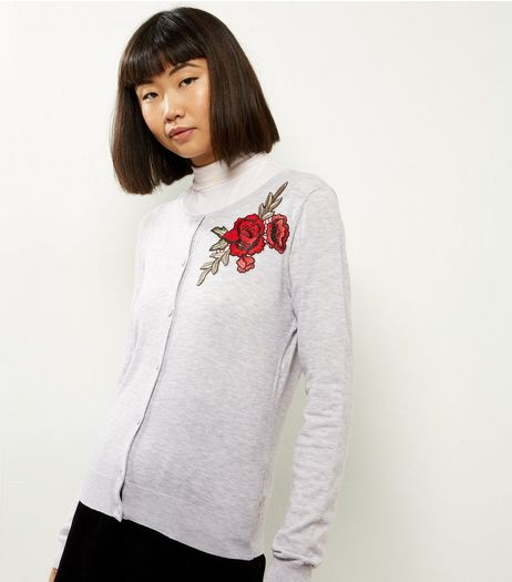 Pale Grey Embroidered Rose Crew Neck Cardi | New Look