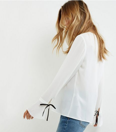White Tie Cuff Bell Sleeve Top | New Look