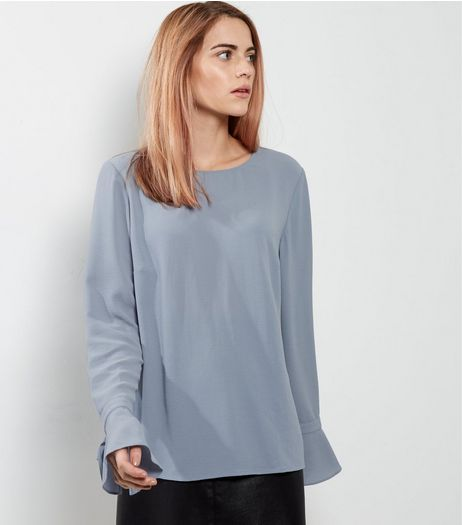 Blue Tie Cuff Top | New Look