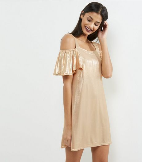 Blue Vanilla Cream Metallic Cold Shoulder Swing Dress | New Look