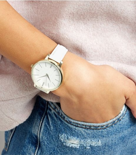White Embossed Geo Print Dial Watch | New Look