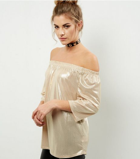 Blue Vanilla White Metallic Bardot Neck Top  | New Look