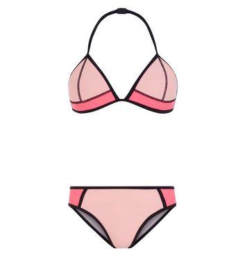 Teens Pink Colour Block Bikini