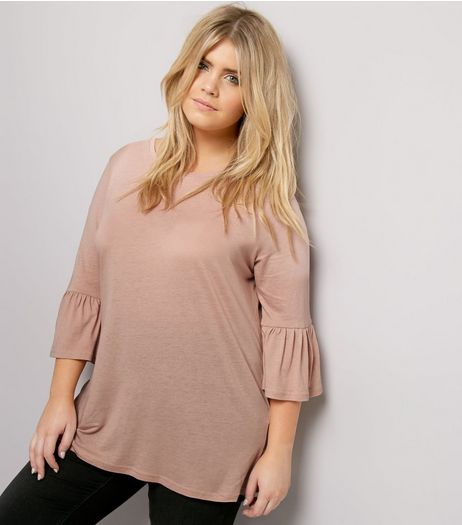 Curves Pink Bell 3/4 Sleeve Top | New Look