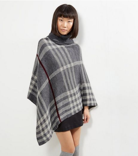 Mela Light Grey Check Knitted Poncho  | New Look