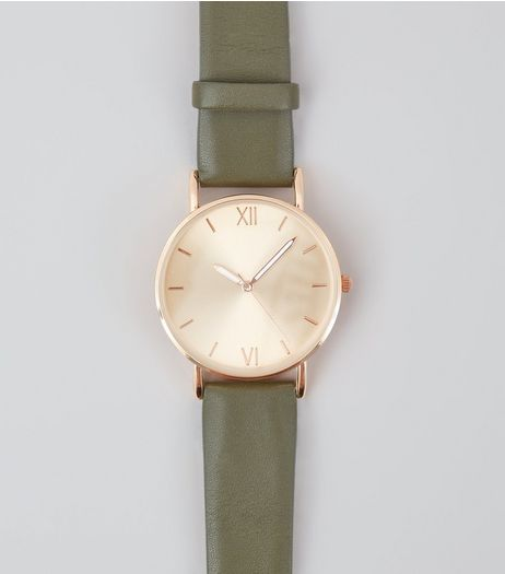 Khaki Strap Metallic Face Watch | New Look