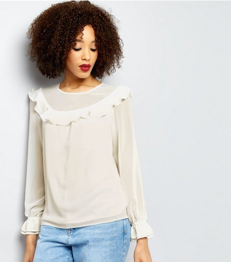 Cream Frill Trim Yoke Top | New Look