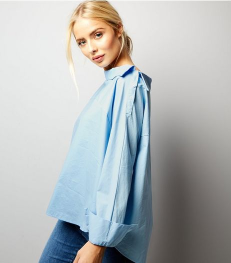 Blue Deconstructed Long Sleeve Shirt  | New Look