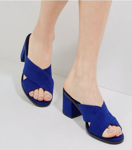 Blue Suedette Cross Strap Heeled Mules | New Look