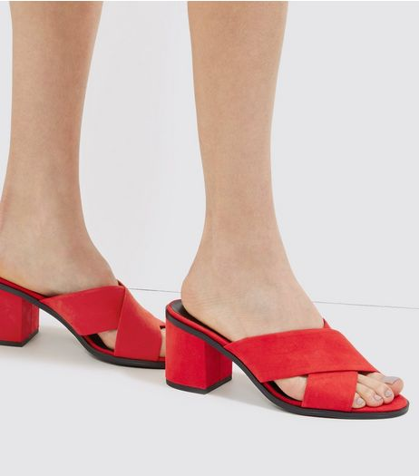 Red Suedette Cross Strap Heeled Mules | New Look