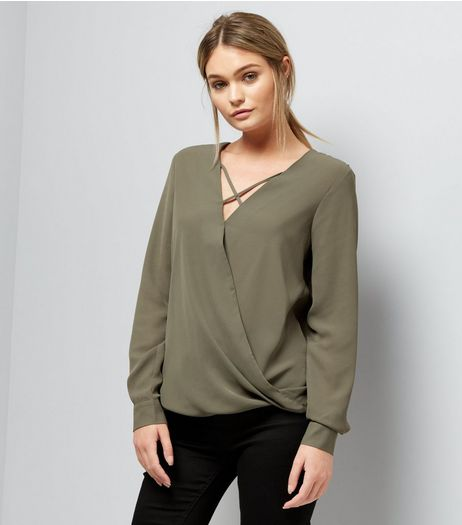Khaki Cross Strap Wrap Front Top  | New Look