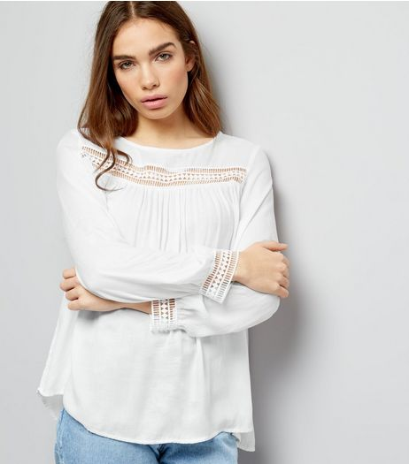 Cream Cut Out Trim Long Sleeve Top  | New Look
