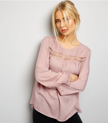 Shell Pink Cut Out Trim Long Sleeve Top  | New Look