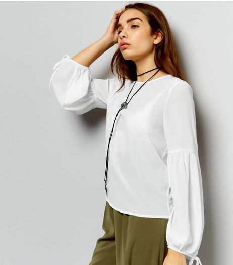 White Bell Tie Sleeve Long Sleeve Top  | New Look